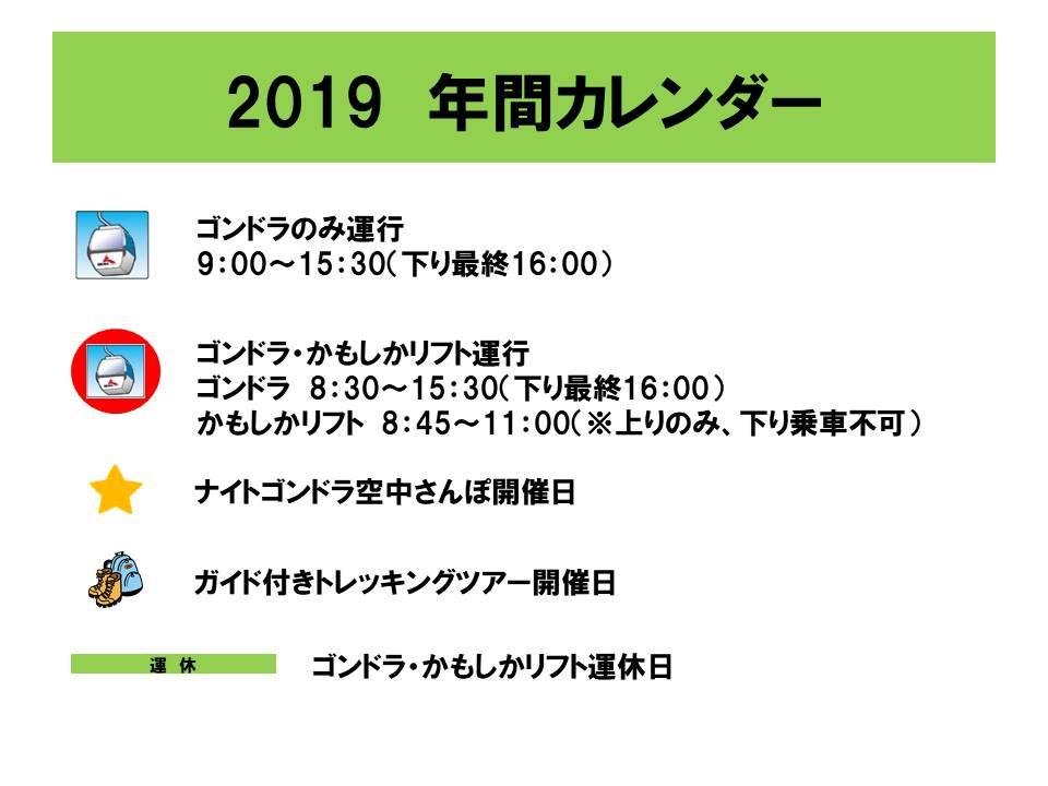 2019 年間カレンダー